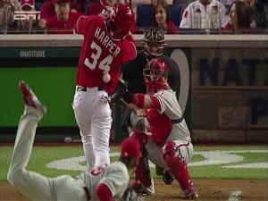 Cole Hamels (Philadelphia Phillies) hitting Bryce Harper (Washington Nationals) with a pitch.